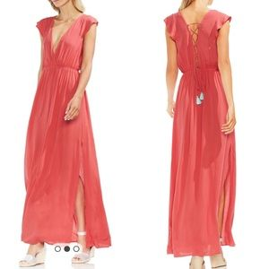 Vince Camuto Cover-up Maxi Dress lace up coral